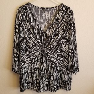 Daisy Fuentes Faux Wrap Black& White Pattern Sz 3X
